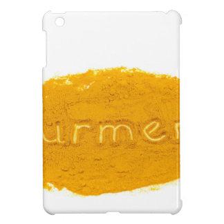 Word Turmeric written in powder on white backgroun iPad Mini Cases