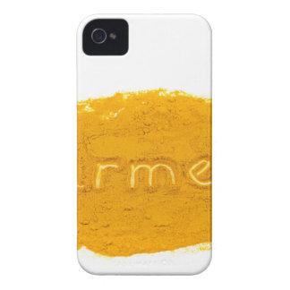 Word Turmeric written in powder on white backgroun iPhone 4 Case
