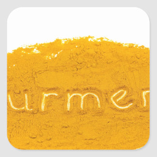 Word Turmeric written in powder on white backgroun Square Sticker