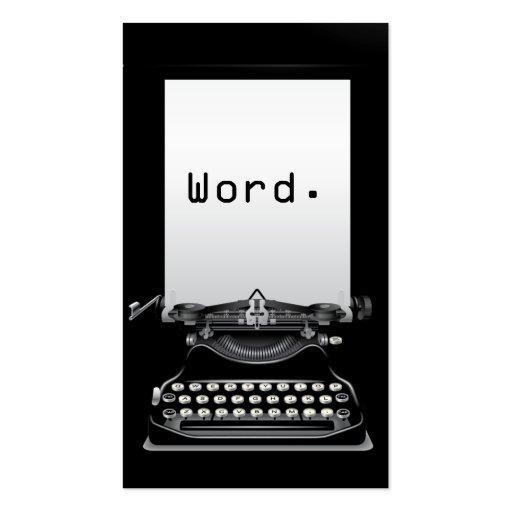 """""""Word."""" Typewriter Black Writer Business Card"""