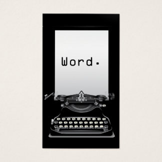 """""""Word."""" Typewriter Plain Black Writer Business Card"""