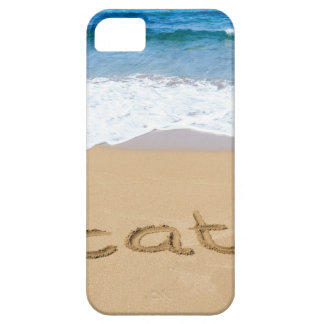 word vacation written on sand beach at sea iPhone SE/5/5s case