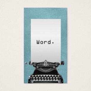 Typewriter business cards templates zazzle vintage typewriter turquoise writer business card reheart Choice Image