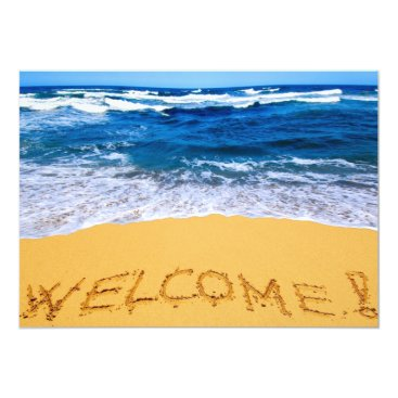 Beach Themed Word WELCOME Written on Sandy Beach/Party Invites