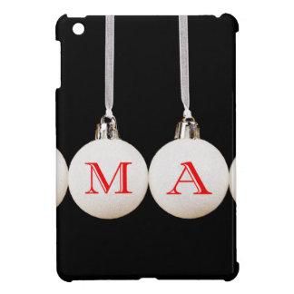 Word xmas on white christmas balls on black case for the iPad mini