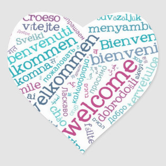 Wordcloud WELCOME Heart Sticker