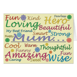 Wording Yellow Mother's Day Card