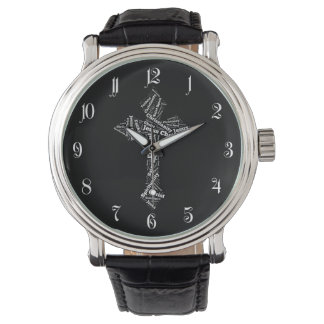 Words Christian cross Wristwatch