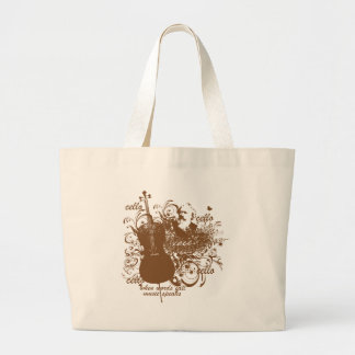 Words Fail Music Speaks Cello Musician Large Tote Bag