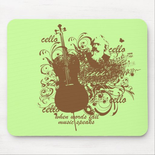 Words Fail Music Speaks Cello Musician Mouse Pad