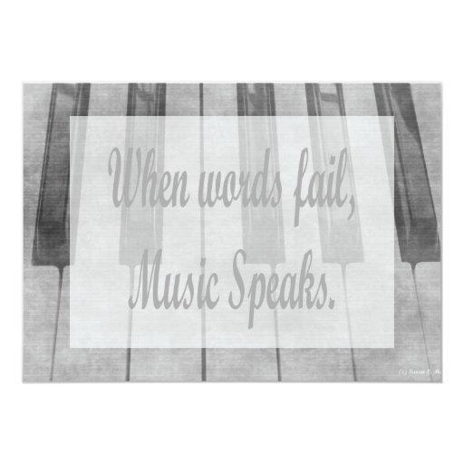 words fail piano music design 5x7 paper invitation card