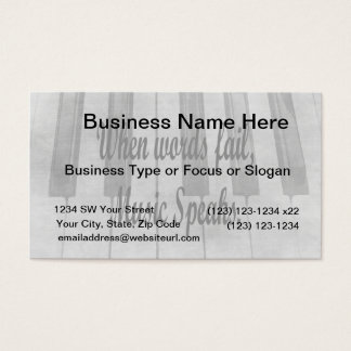 words fail piano music design business card