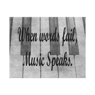 words fail piano music design canvas print