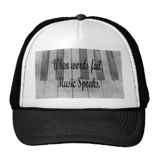 words fail piano music design trucker hat