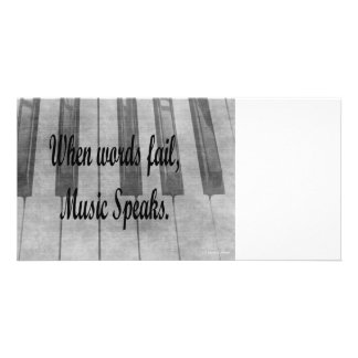words fail piano music design personalized photo card
