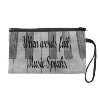 words fail piano music design wristlet purse