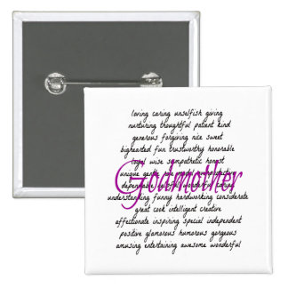 Words for Godmother 2 Inch Square Button