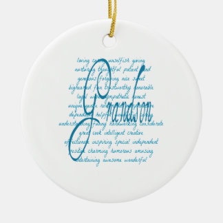 Words for Grandson in Blue Ceramic Ornament