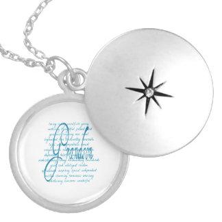 Words for Grandson in Blue Locket Necklace