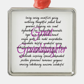Words for Great Granddaughter Square Metal Christmas Ornament