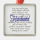 Words for Husband Square Metal Christmas Ornament