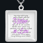 """Words for Mother-in-Law Silver Plated Necklace<br><div class=""""desc"""">This adorable text design featuring all the words or synonyms to describe a mother-in-Law is the perfect way to express all the loving feeling you have for your own mother-in-Law.</div>"""