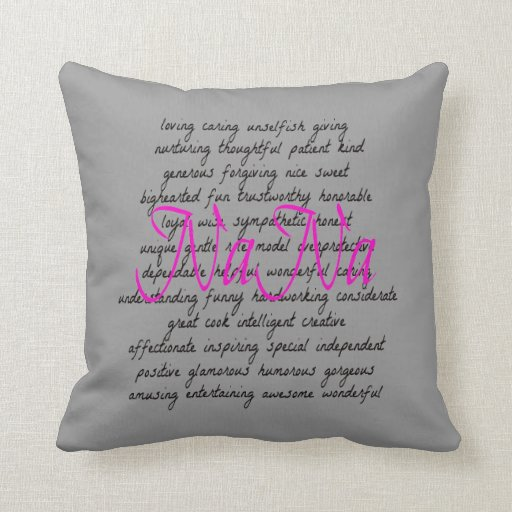 Throw Pillows With Words On Them : Words for NaNa Throw Pillow Zazzle