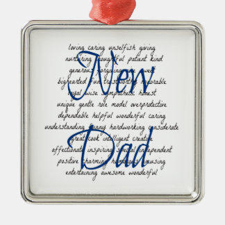 Words for New Dad Square Metal Christmas Ornament