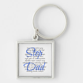 Words for Step Dad Silver-Colored Square Keychain