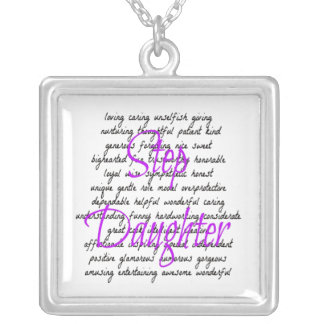 Words for Step Daughter Silver Plated Necklace