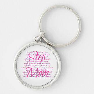 Words For Step Mom Silver-Colored Round Keychain