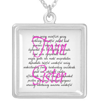 Words for Twin Sister Square Pendant Necklace