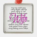 Words for Wife Square Metal Christmas Ornament