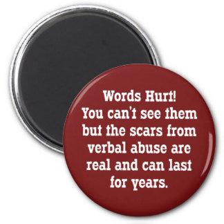 Words Hurt 2 Inch Round Magnet