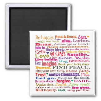 words in red square 2 inch square magnet