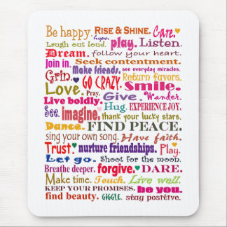 words in red square mouse pad