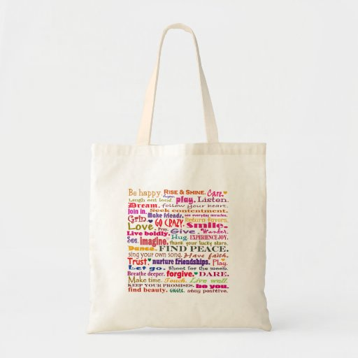 words in red square tote bag