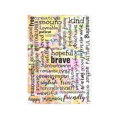 Words of Affirmation Collage Canvas Print