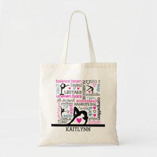 Words of Gymnastics Terminology w/ Monogram Budget Tote Bag