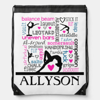 Words of Gymnastics Terminology w/ Monogram Drawstring Backpack