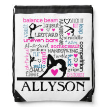 Words of Gymnastics Terminology w/ Monogram Drawstring Bag