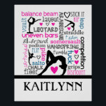 """Words of Gymnastics Terminology w/ Monogram Poster<br><div class=""""desc"""">This gymnastics poster features a white background covered with gymnastics terms in a variety of fonts and colors.  There are 4 different gymnast silhouettes and a custom text field to personalize with a name before ordering. &#169;gollygirls.com</div>"""