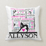"Words of Gymnastics Terminology w/ Monogram Throw Pillow<br><div class=""desc"">This gymnastics throw pillow features a white background covered with gymnastics terms in a variety of fonts and colors.  There are 4 different gymnast silhouettes and a custom text field to personalize with a name before ordering.