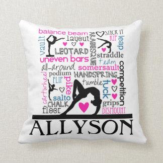 Words of Gymnastics Terminology w/ Monogram Throw Pillow
