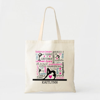 Words of Gymnastics Terminology w/ Monogram Tote Bag