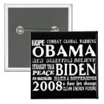 Words of Hope Obama & Biden 2008 Button 2