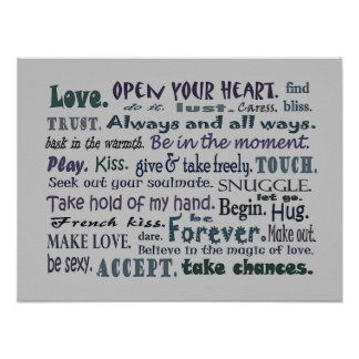 Words of Love collage art poster