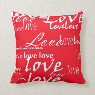 words of love in white on red valentine pillow - Valentine Pillow