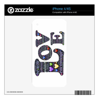 Words of Love iPhone 4/4S Skin, Decals For iPhone 4S