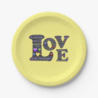 """Words of Love Paper Plates 7"""""""